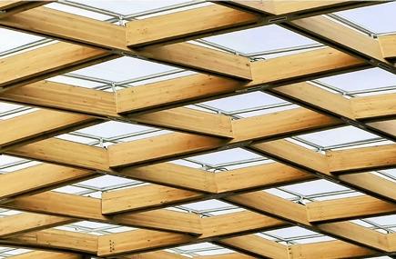 胶合木的弧形屋盖